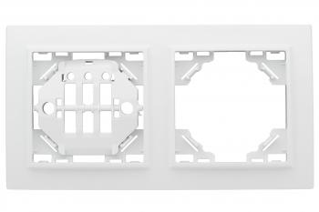 Минск Рамка 2-местная горизонтальная белая EKF  Basic