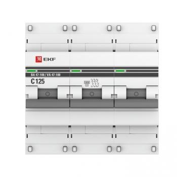 Автоматический выключатель 3P 50А (D) 10kA ВА 47-100 EKF PROxima