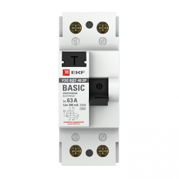 Устройство защитного отключения УЗО ВДТ-40 2P 63А/300мА (электронное) EKF Basic