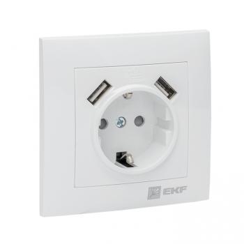 Валенсия розетка 1-местная с/з 16А белая с защ. штор. с 2 USB 2,1А EKF PROxima