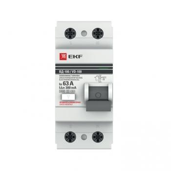Устройство защитного отключения селективное 2P  63А/300мА (электромеханическое) EKF PROxima