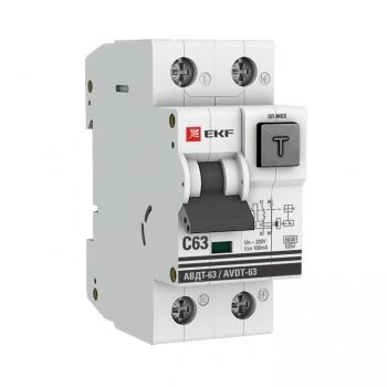 Дифференциальный автомат АВДТ-63 63А/100мА (характеристика C, эл-ех тип A) 6кА EKF PROxima