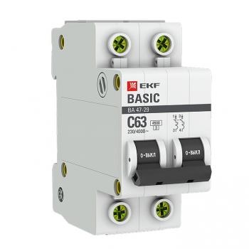 Выключатели автоматические ВА 47-29 (4.5кА) до 63А EKF Basic