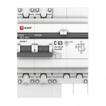 Дифференциальный автомат АД-2 63А/100мА (хар. C, AC, электронный, защита 270В) 4,5кА EKF PROxima
