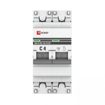 Автоматический выключатель 2P  4А (C) 4,5kA ВА 47-63 EKF PROxima