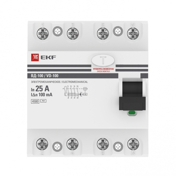 Устройство защитного отключения УЗО ВД-100 4P 25А/100мА (электромеханическое) EKF PROxima