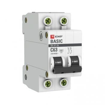 Автоматический выключатель 2P 63А (C) 4,5кА ВА 47-29 EKF Basic