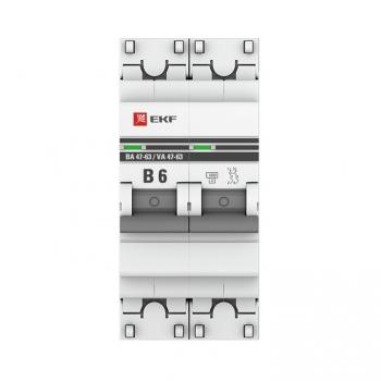Автоматический выключатель 2P  6А (В) 4,5kA ВА 47-63 EKF PROxima