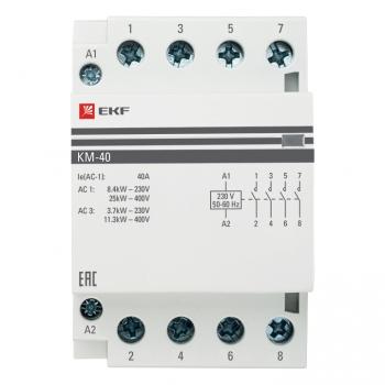 Контактор модульный КМ 40А 4NО (3 мод.) EKF PROxima