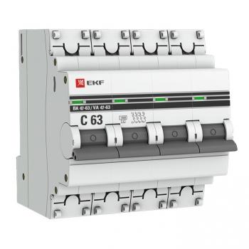 Автоматический выключатель 4P 10А (C) 4,5kA ВА 47-63 EKF PROxima