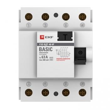 Устройство защитного отключения УЗО ВДT-40 4P 63А/300мА (электронное) EKF Basic