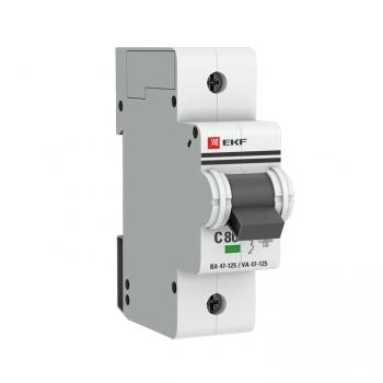 Автоматический выключатель 1P  80А (C) 15кА ВА 47-125 EKF PROxima