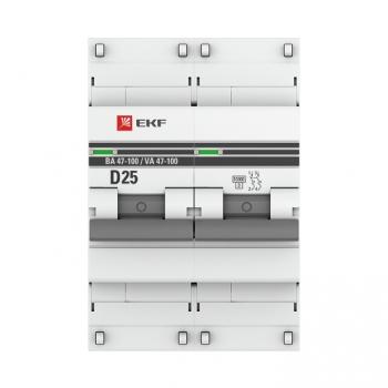Автоматический выключатель 2P  25А (D) 10kA ВА 47-100 EKF PROxima