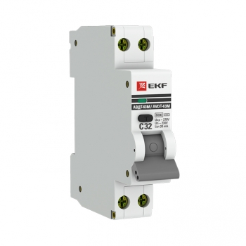 Дифференциальный автомат АВДТ-63М 32А/ 30А (1мод., хар.C, электронный тип AС) 6кА EKF PROxima