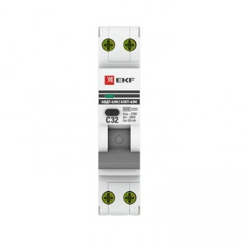 Дифференциальный автомат АВДТ-63М 32А/ 30мА (1мод., хар.C, электронный тип AС) 6кА EKF PROxima