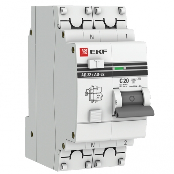 Дифференциальный автомат АД-32 1P+N 20А/30мА (хар. C, AC, электронный, защита 270В) 4,5кА EKF PROxima