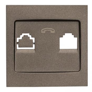 Валенсия лицевая панель розетки Phone 1-местная графит EKF PROxima