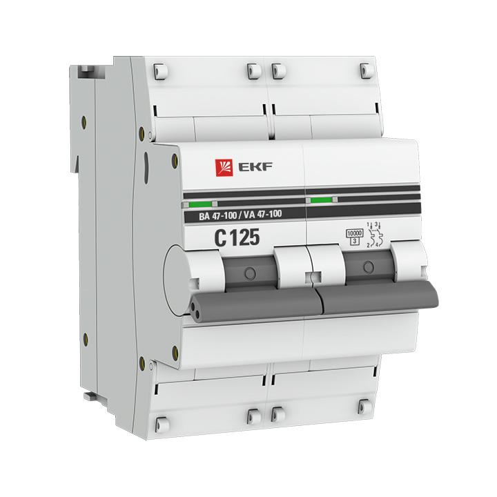Выключатель автоматический модульный 2п D 50А 10кА ВА 47-100 PROxima EKF mcb47100-2-50D-pro купить в интернет-магазине RS24