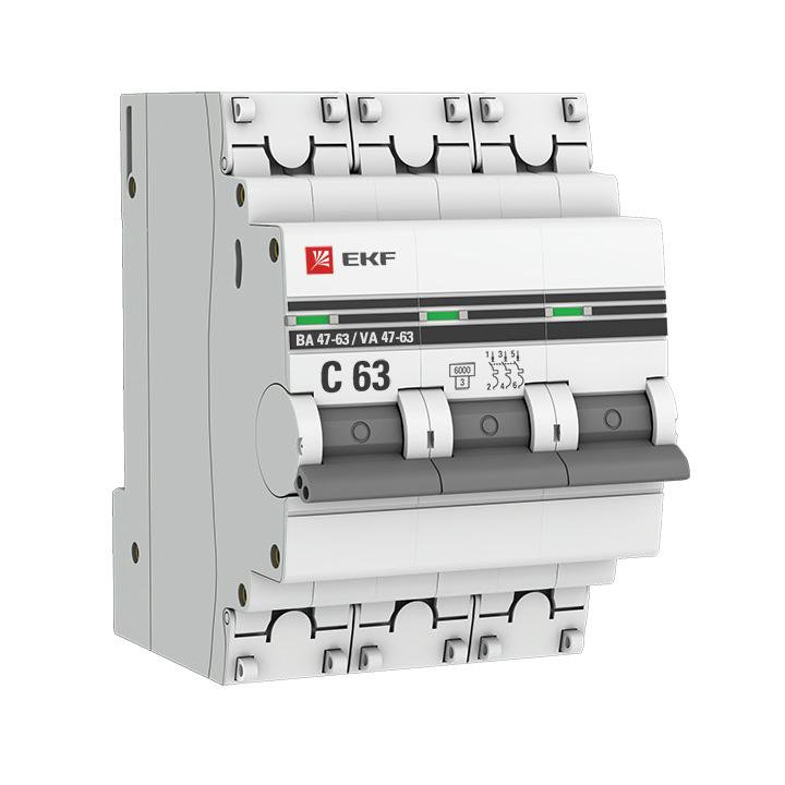 Выключатель автоматический модульный 3п B 16А 6кА ВА 47-63 PROxima EKF mcb4763-6-3-16B-pro купить в интернет-магазине RS24