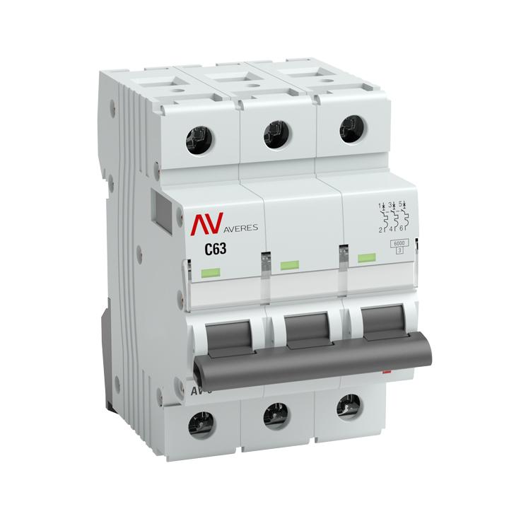 Выключатель автоматический 3п C 1А AV-6 6кА AVERES EKF mcb6-3-01C-av купить в интернет-магазине RS24