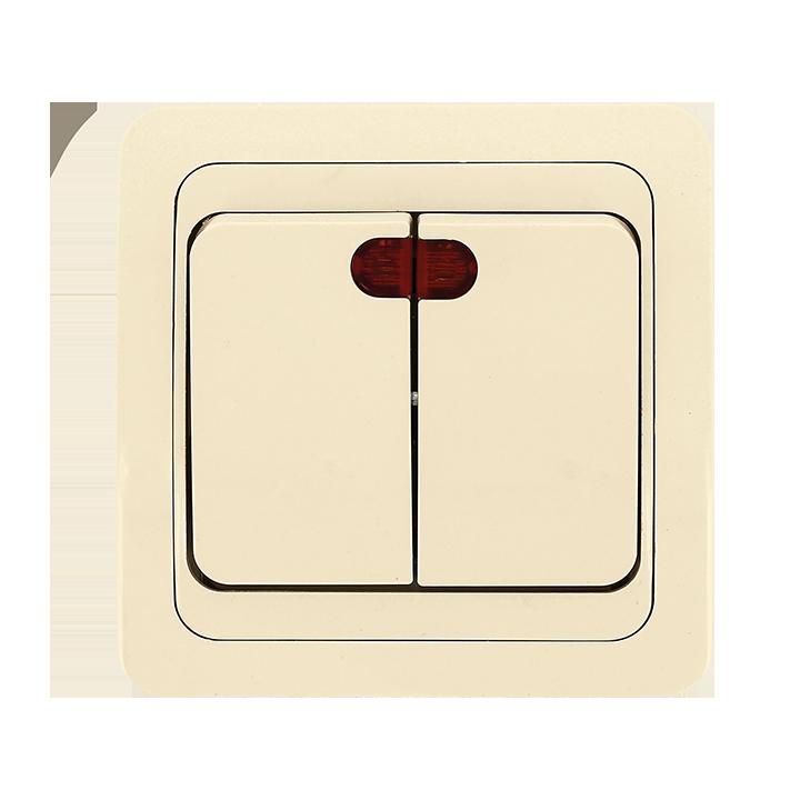 Лондон Выключатель 2-клавишный с индикатором 10А бежевый EKF PROxima e9eeff43b27