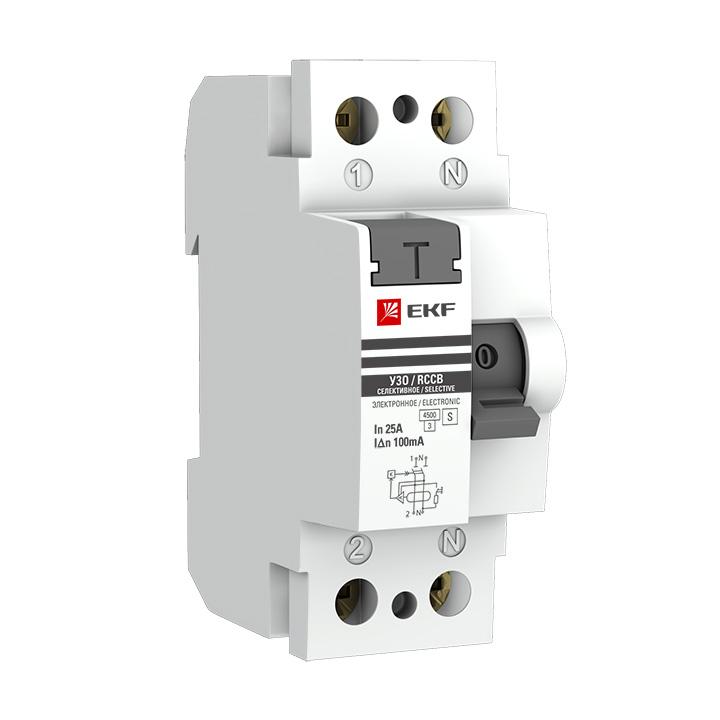 Выключатель дифференциального тока (УЗО) 2п 63А 100мА тип AC ВД-100 PROxima (электромех.) EKF elcb-2-63-100S-em-pro купить в интернет-магазине RS24
