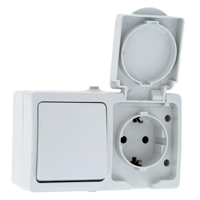 Блок ОП розетка-выключатель 1-кл. Венеция 16А с заземл. с крышкой защ. шторки IP54 бел. EKF EVRV16-050-10-540 купить в интернет-магазине RS24