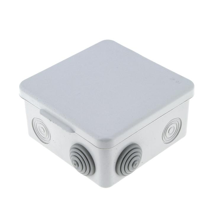 Коробка распаячная КМР-030-031 наруж. с крышкой 85х85х50 АБС 7 вх. IP54 сер. EKF plc-kmr-030-031