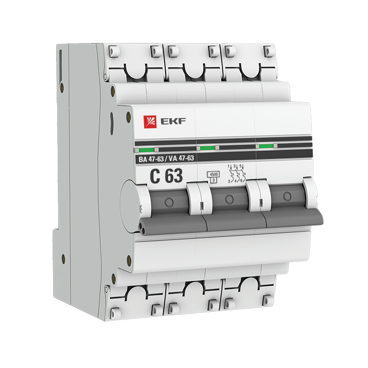 Выключатель автоматический модульный 3п C 8А 4.5кА ВА 47-63 PROxima EKF mcb4763-3-08C-pro купить в интернет-магазине RS24