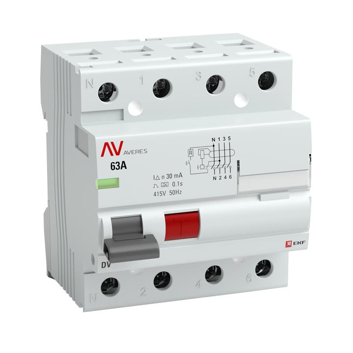 Выключатель дифференциального тока (УЗО) 4п 100А 100мА тип S DV AVERES EKF rccb-4-100-100-s-av купить в интернет-магазине RS24