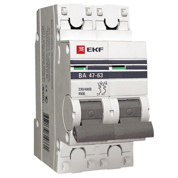 Картинки по запросу mcb4763-2-06В-pro Автоматический выключатель 2P 6А (В) 4,5kA ВА 47-63 EKF PROxima