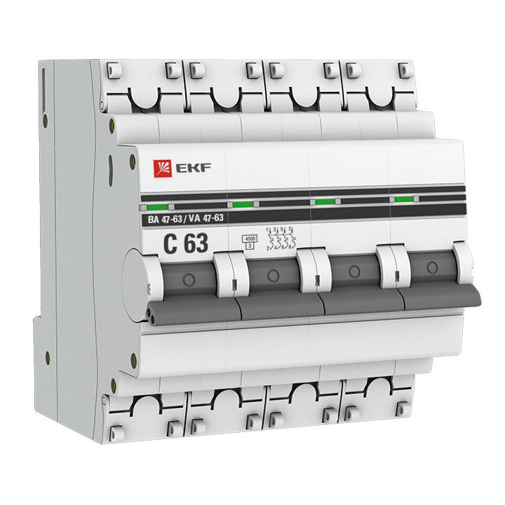 Выключатель автоматический модульный 4п C 1.6А 4.5кА ВА 47-63 PROxima EKF mcb4763-4-1.6C-pro купить в интернет-магазине RS24